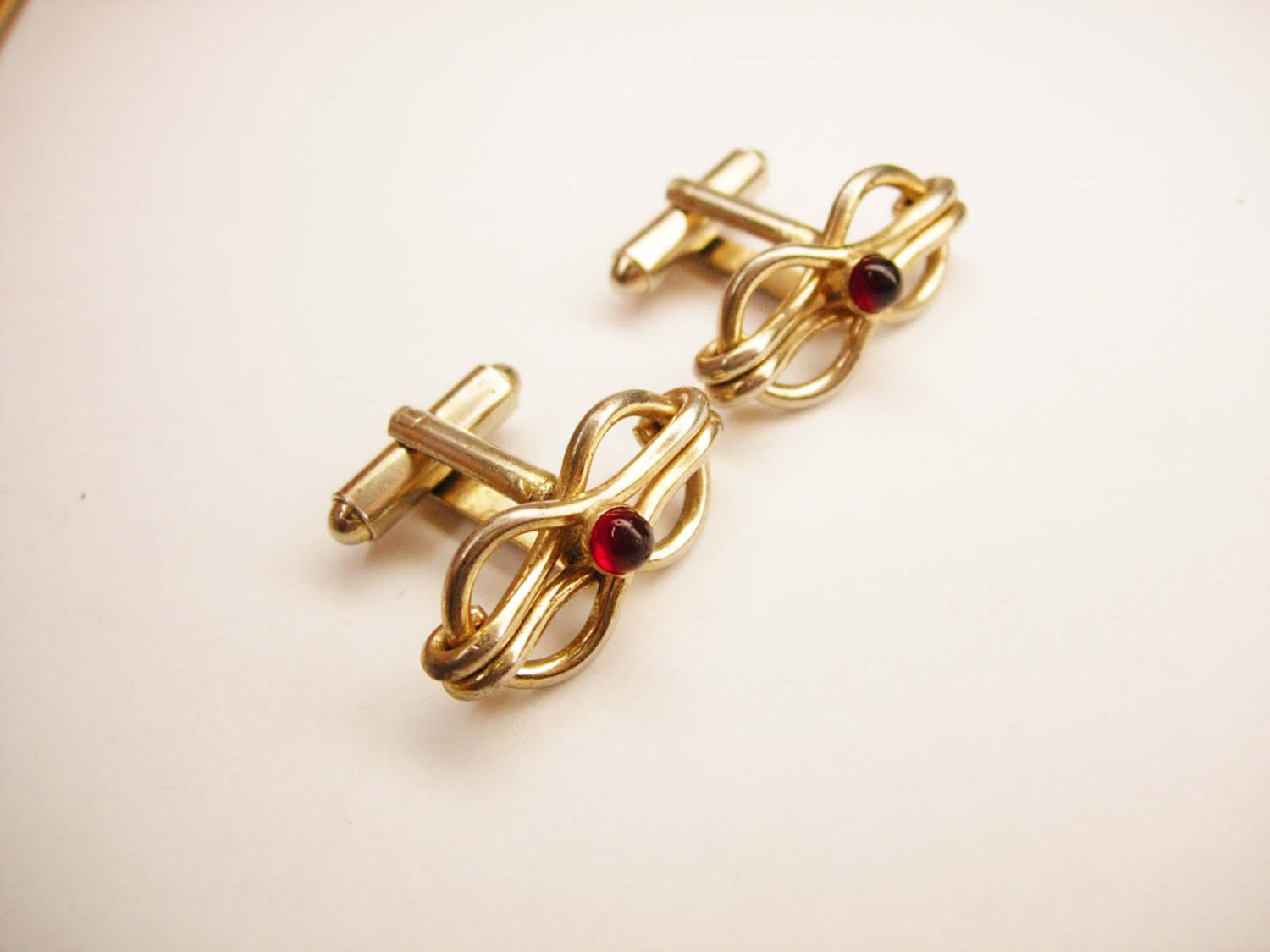 Vintage swank square knot cufflinks red jewel business for What is swank jewelry