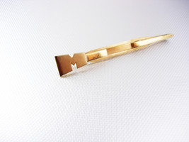 Vintage Large Modernist Swank Letter M Gold Filled Tie Clip Monogram Bus... - $45.00