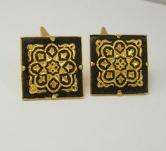 Vintage Black Damascene Cufflinks Golden Color Spanish Revival Wedding Business  - $65.00