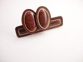 Vintage Leather Cufflinks Buxton Tie Clip Set Wedding Business - $145.00