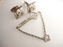 Vintage Swank Jeweled Cufflinks Bonus Tie Clip large - $40.00