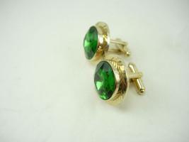 Vintage Green Jewel Cufflinks Faceted Birthday Wedding Business Signed Dante - $95.00