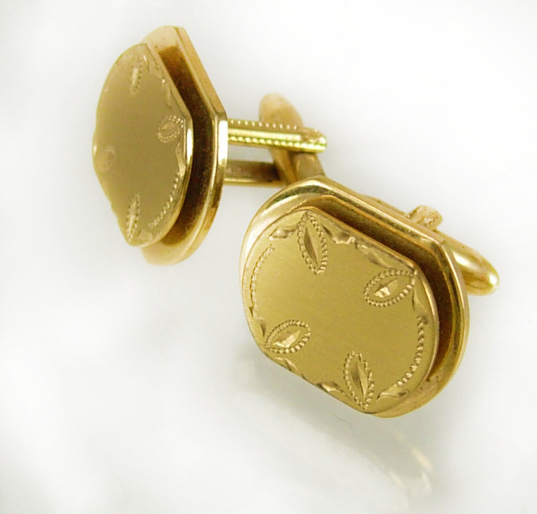 Primary image for Vintage Layered Etched Cufflinks Brushed Golden Color Victorian Design Birthday