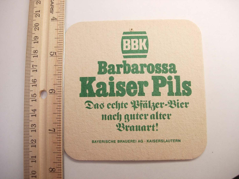 Vintage Barbarossa Bier Coaster Kaiserslautern Germany Collectors