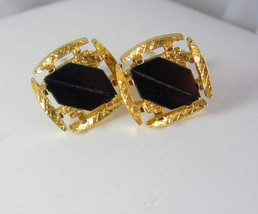 Mosaic Black Glass Cufflinks Vintage Shields Designer Fine Jewelry Shirt Accesso - $55.00