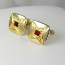 SPEIDEL Haunted Garnet Jeweled Cufflinks Vintage Red Rhinestone Star Ast... - $75.00