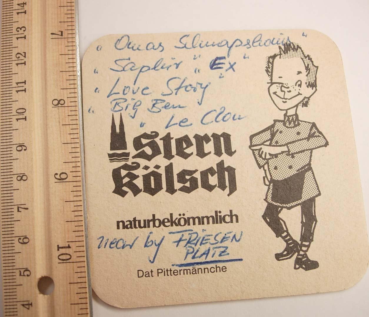 Vintage Stern Kolsch Coaster Biere Dom Kolsch Germany Deutsch
