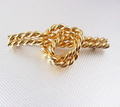Large Love Knot Chain Brooch Vintage Gold Filled Napier Rope Wedding Ann... - $60.00