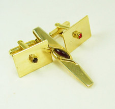 Vintage red jewel cufflinks and tie clip deco signed anson tie clip  wed... - $40.00