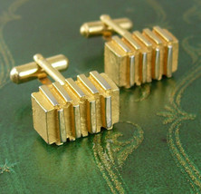 Steampunk Gold Filled Heat Exchanger Cufflinks Industrial Frosted Meat T... - $50.00
