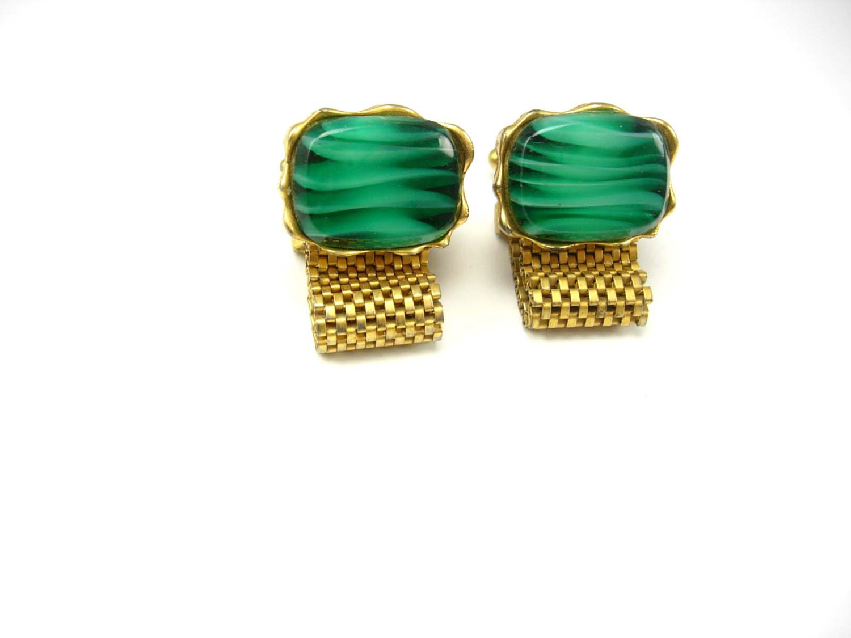 Distinctive Green Malachite Cufflinks Vintage Golden Wrap Mesh Wedding Tuxedo Fa - $75.00