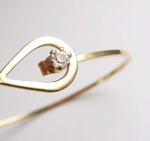 Childs Rhinestone Bracelet Vintage Birthday Birthstone April Faux Diamond Gold F