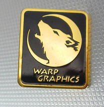Wolf Vintage Warp Graphics Lapel Pin Gold Filled Moon Black Enamel Tie T... - $50.00