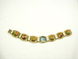 Vintage Reverse Painted Tourist Canada Bracelet with enamel - $55.00