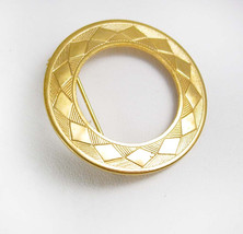 Eternity BROOCH Vintage Lapel Pin Gold Filled Circular Wreath Diamond Design Clo - $30.00