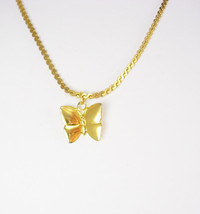 "Monet Gold Filled Necklace Butterfly Pendant Vintage 8"" Chain Hallmarked... - $45.00"