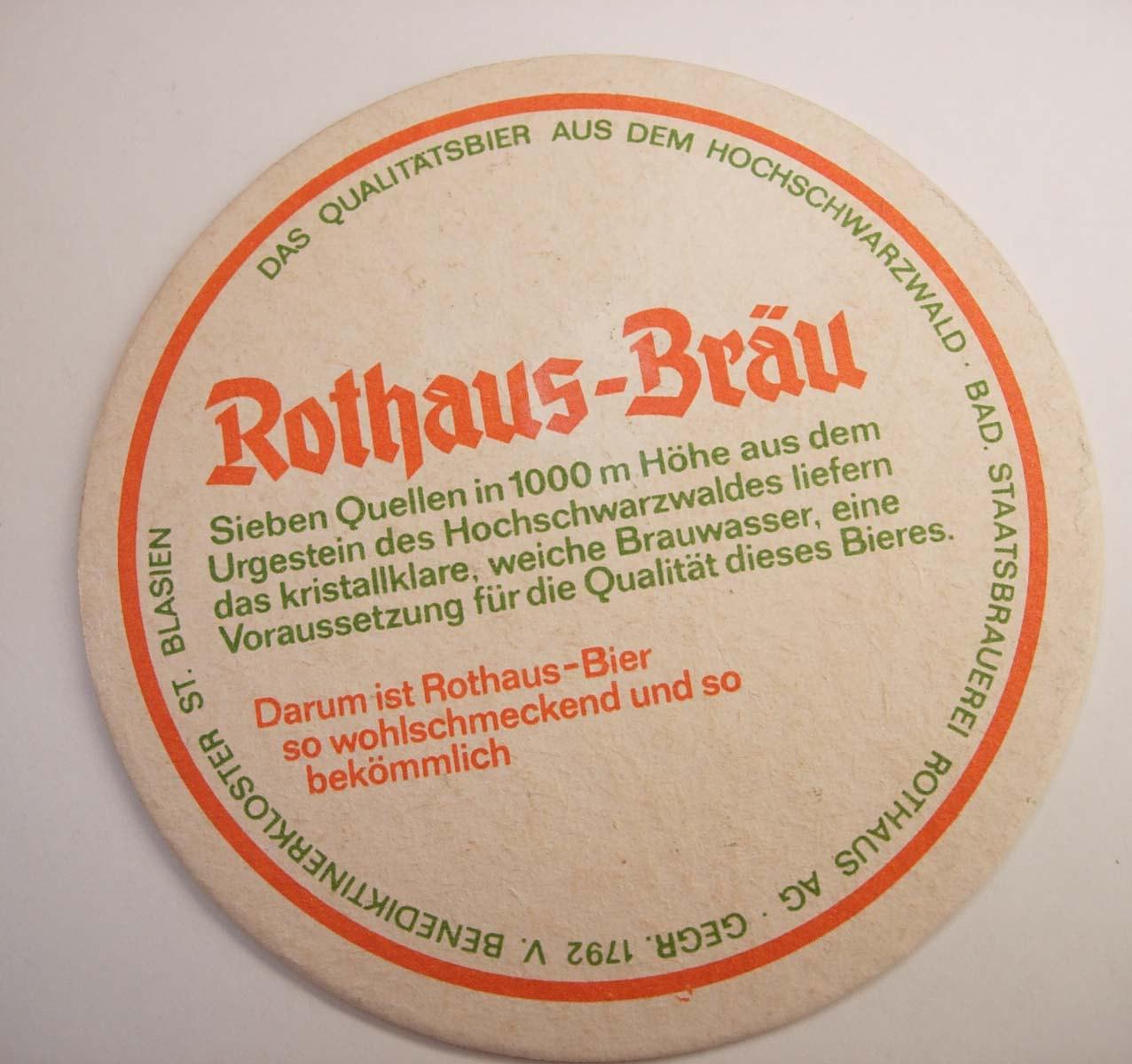 Vintage Rothaus Brau Coaster Baden Wurttemberg Beire Deutsch Germany Bar Collect
