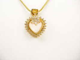Vintage Sweetheart Rhinestone Necklace CZ Heart Design Wedding Birthday ... - $45.00