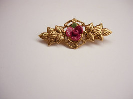 Distinctive Rose and Leaves Brooch Vintage Sculpted Highly Detailed  Gol... - $25.00