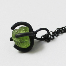 Handmade Peridot Rock Silver Necklace, 925 Silv... - $38.00