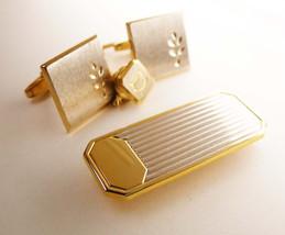 Vintage Beveled Brushed Cufflinks initial D tie tack signed Foster  Bonu... - $75.00