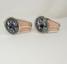 Enamel cufflinks Vintage Peach speckled Faux Agate Speidel - $25.00