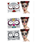 6 Day Of The Dead Dia de los Muertos Face Mask TEMPORARY TATTOO Hallowee... - $9.95
