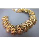 VTG Monet Flower Link Bracelet Gold Plated Wide... - $44.99