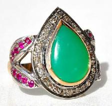 Vintage Inspire Handcraft Rose Cut Diamond 925 Silver Ring CSJUK154 - $4.938,13 MXN