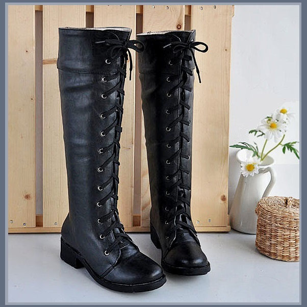 Flat Black Knee High Round Toe Leather Lace Up Low Block Heel Winter Boots