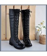 Flat Black Knee High Round Toe Leather Lace Up Low Block Heel Winter Boots - $95.95