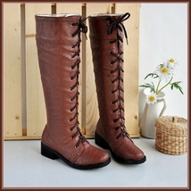 Brown Knee High Round Toe Leather Lace Up Low Block Heel Winter Boots