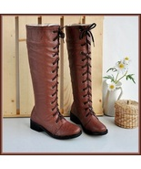 Brown Knee High Round Toe Leather Lace Up Low Block Heel Winter Boots - $95.95