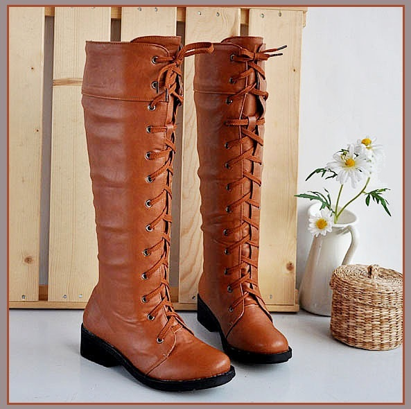 Red Clay Knee High Round Toe Leather Lace Up Low Block Heel Winter Boots