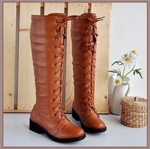 Red Clay Knee High Round Toe Leather Lace Up Low Block Heel Winter Boots - ₨6,206.05 INR+