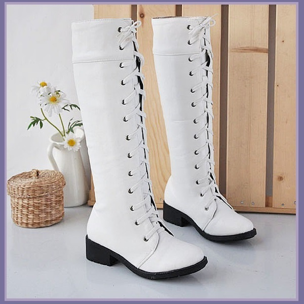 White Knee High Round Toe Leather Lace Up Low Block Heel Winter Boots