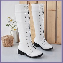 White Knee High Round Toe Leather Lace Up Low Block Heel Winter Boots image 1