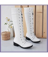 White Knee High Round Toe Leather Lace Up Low Block Heel Winter Boots - $95.95