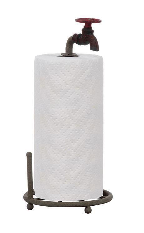"Farmhouse Vintage Rustic Style Metal Faucet Paper Towel Holder 15"" H"