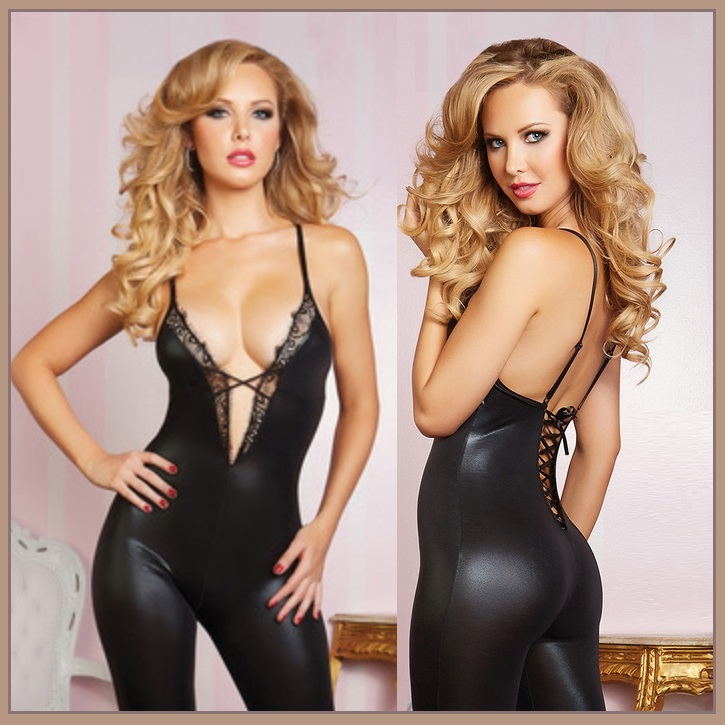 Black Faux PU Leather and Lace Body Stocking Spaghetti Straps Lace Up BackTeddy