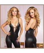 Black Faux PU Leather and Lace Body Stocking Spaghetti Straps Lace Up Ba... - $42.95