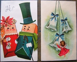 Christmas Cards Pink Angel Bells Anthropomorphic Presents Vintage Sangam... - $23.36