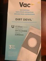 Vac Dirt Devil Type U Allergen Vacuum Bags Allergen Media 3 Pack NEW  - $6.44