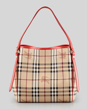 Nwt Burberry Haymarket Check Sml Canterbury Tote Bag Cadmium Red $900+ Authentic - $749.00