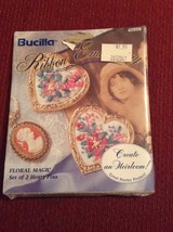 Bucilla Floral Magic Set Of 2 Heart Pins Craft 1994 - $8.91