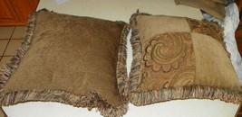 Pair of Green Gold Patchwork Print Pillows  18 x 18 - $59.35