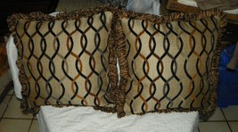 Pair of Tan Black Gold Abstract Print Throw Pillows - $59.35