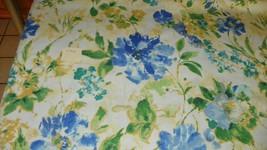Cream Blue Gold Green Print Cotton Upholstery Fabric 1  Yard  F1326 - ₨1,732.95 INR
