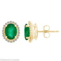 EMERALD & DIAMOND HALO STUD EARRINGS OVAL SHAPE... - $1,084.05