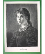 LOVELY GIRL Tyrol Maiden Urschi - VICTORIAN Era Original Engraving - $12.15